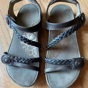 Aetrex Wedge Leather Cork Footbed Sandals size 7.5
